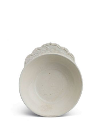 White stoneware flanged cup