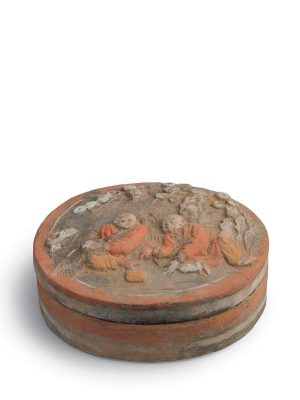 Stoneware box of oval form