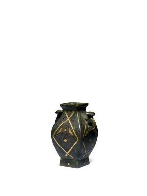 Miniature bronze vessel with gold and silver inlaid decoration