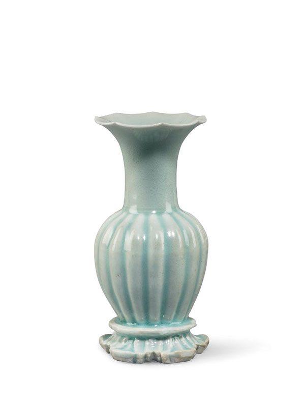 Qingbai porcelain lobed vase