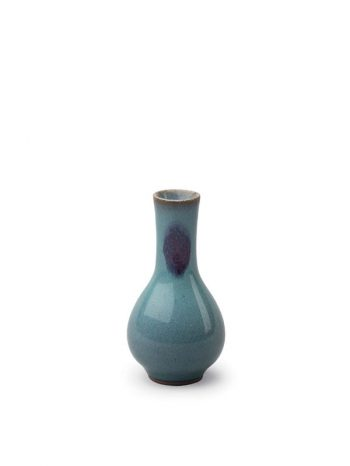 Miniature jun-type stoneware vase