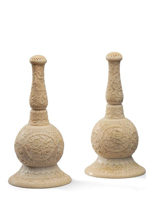 A pair of ivory rosewater sprinklers
