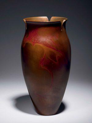Bronze 'morning glory flower' vase by Sugai Shozo