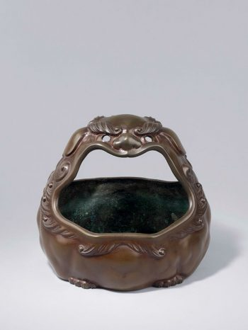 Bronze lion mask hand warmer by Sakai Kozan