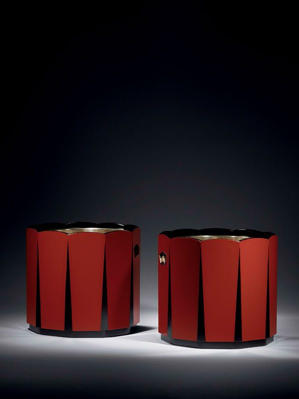 Pair of lacquer hibachi