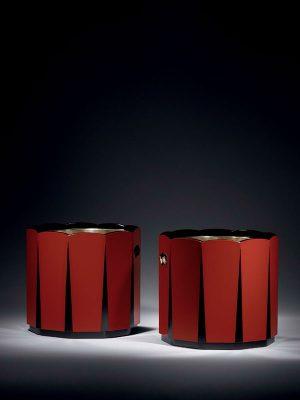 Pair of lacquer hibachi