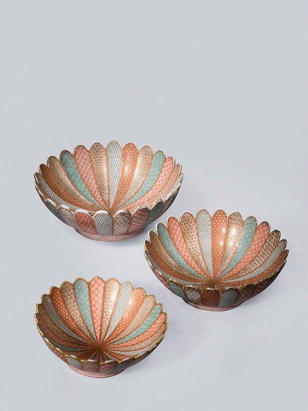 Set of three porcelain bowls