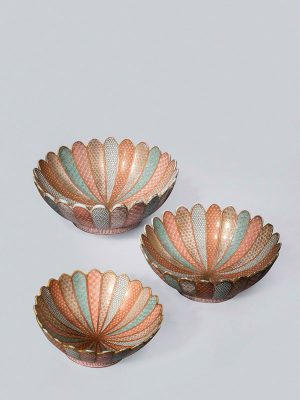 Set of three porcelain bowls