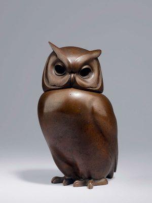 Bronze owl by Tsuda Eiju (1915 - 2001)