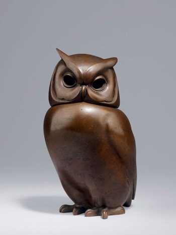Bronze owl by Tsuda Eiju (1915 - 2001)