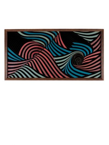 Lacquer panel 'Crashing Waves' by Takuji Rikimaru (1931-2006)