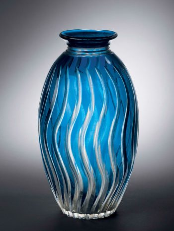 Blue and clear glass 'Edo kiriko' vase