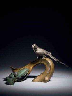 Bronze okimono of bird on a branch by Yamazaki Seimei