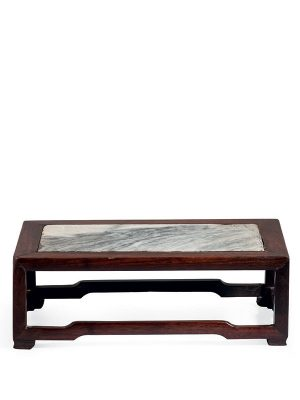 Miniature <em>huanghuali</em> stand with marble top
