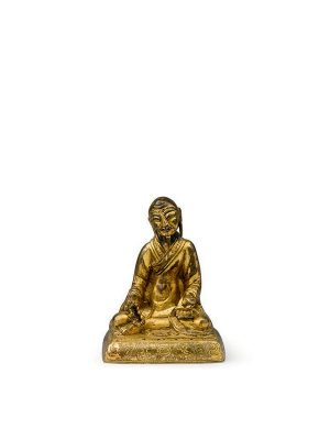 Gilt bronze miniature figure of a seated luohan