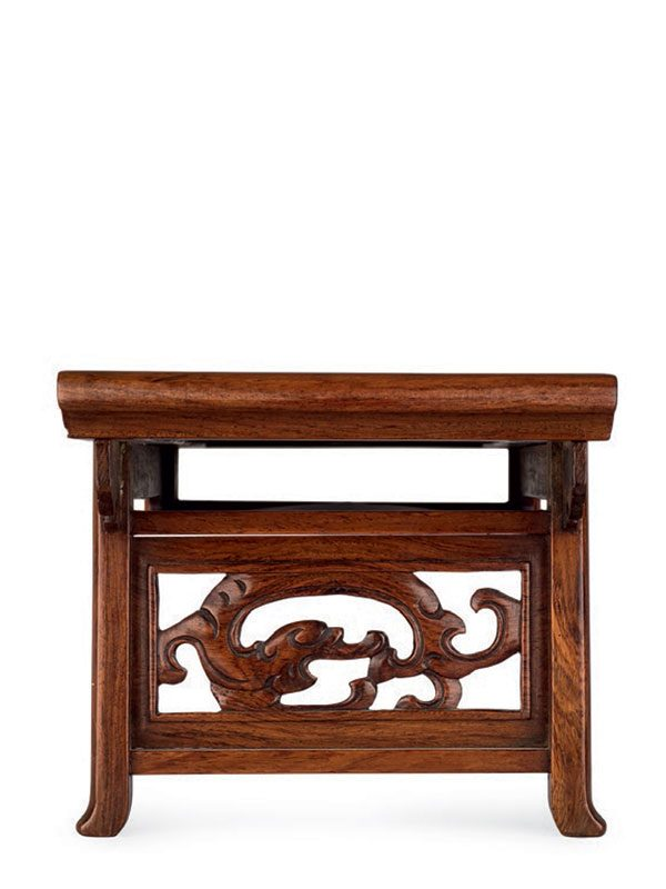 Miniature huanghuali table with marble top
