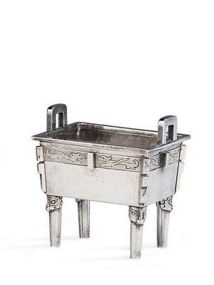 Silver miniature vessel, <em>fang ding</em>