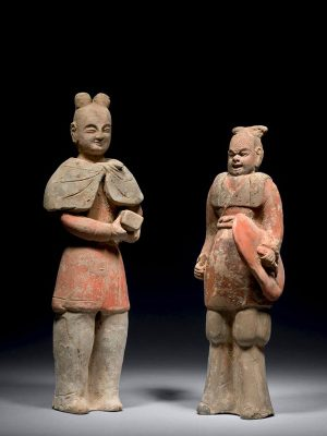 Two pottery figures