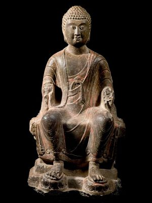 Limestone sculpture of Buddha Maitreya