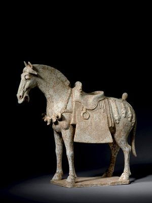 White pottery caparisoned horse