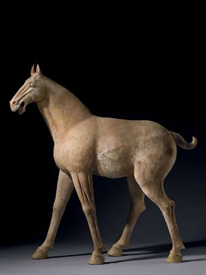 Pottery model of a walking horse