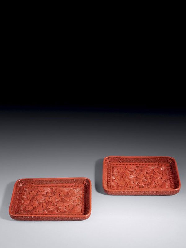 Pair of lacquer trays