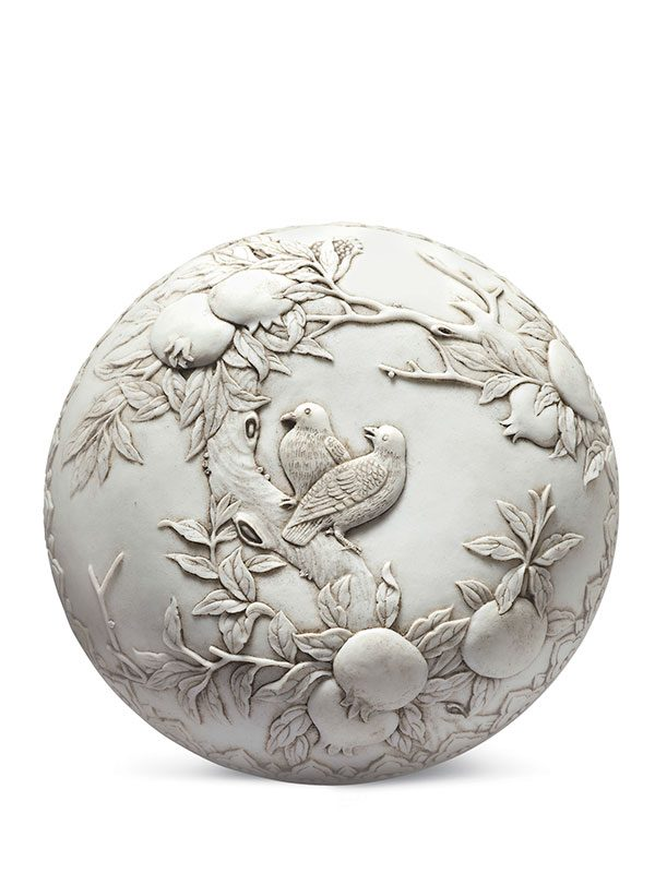 Carved biscuit porcelain box
