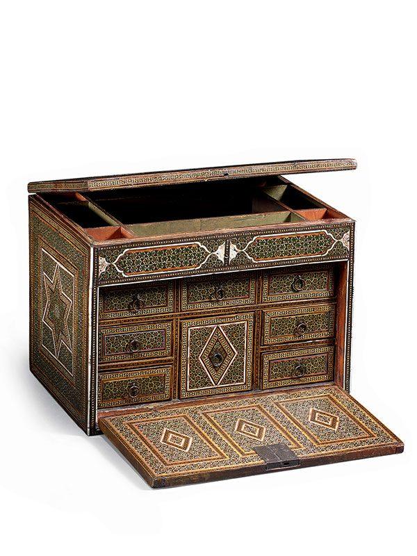 Micro-mosaic (khatamkari) and bone-veneered cabinet