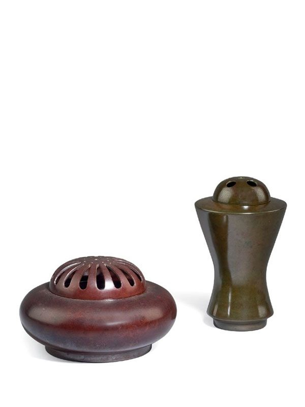 Two Bronze Incense Burners By Nakajima Yasumi (1905-1986)