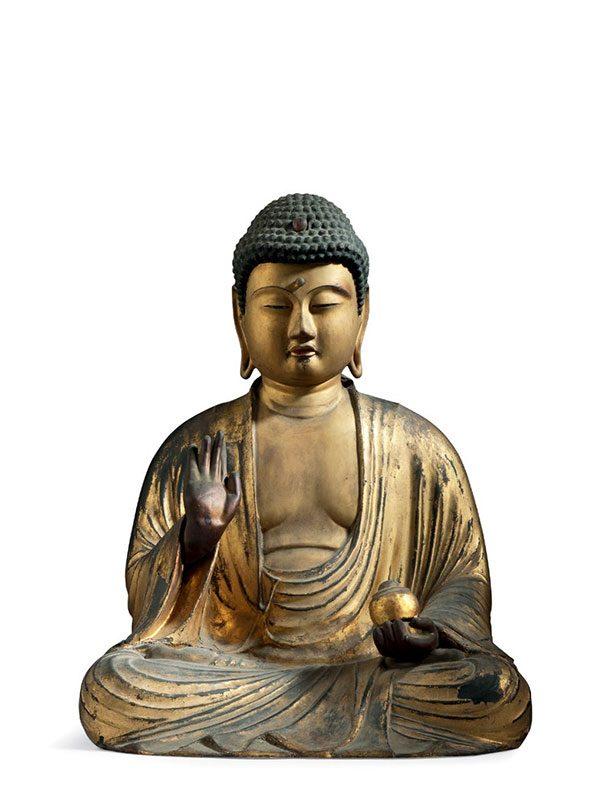 Gilded Wood Figure Of The Buddha Of Healing