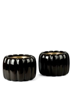 Two Lacquer Hibachi in the Shape of Pumpkins