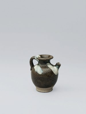 Miniature blue-splashed stoneware ewer