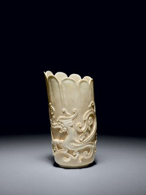 Ivory vase carved with a kui dragon