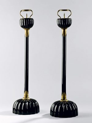Pair of lacquer temple candlesticks
