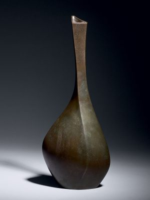 Bronze bottle vase by Shokichi