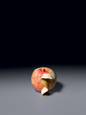 Ivory okimono of an apple by Kozan