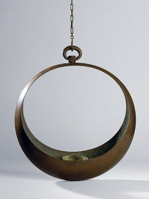 Bronze moon­-shape ikebana hanging basket