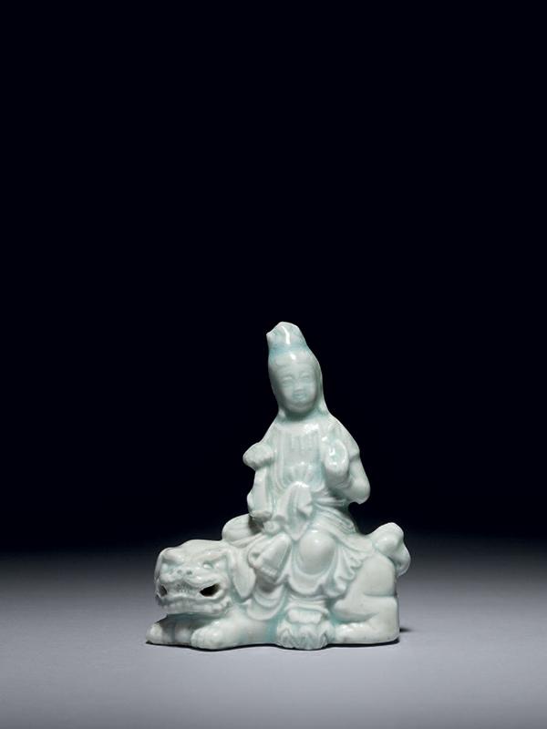 Qingbai porcelain figure of Manjusri on a lion