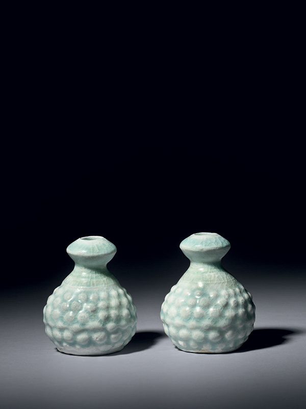 Two miniature qingbai porcelain vases