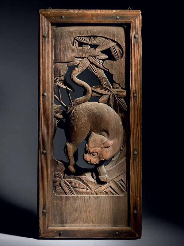 Wood panel carved with tiger