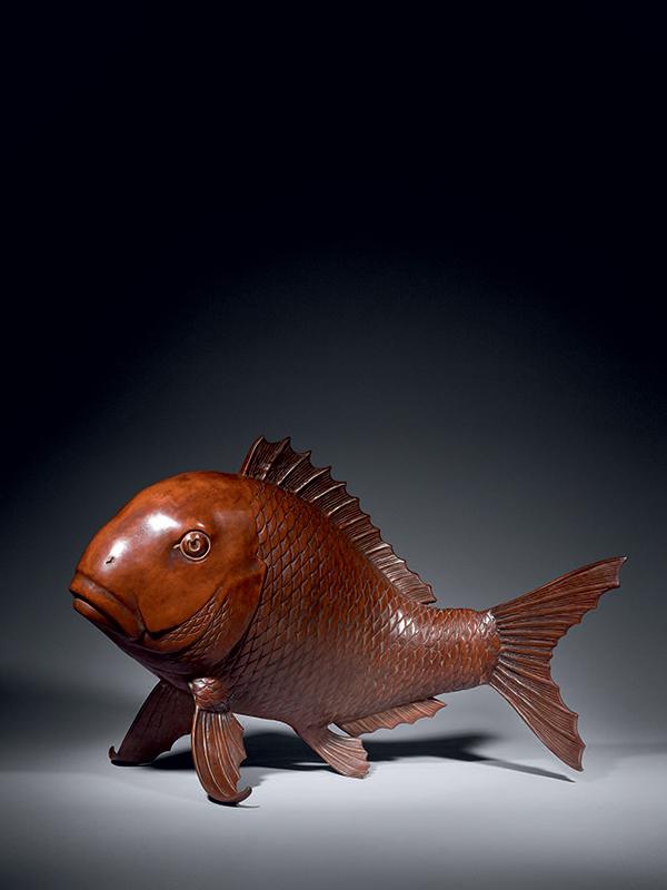 Bronze model of a carp