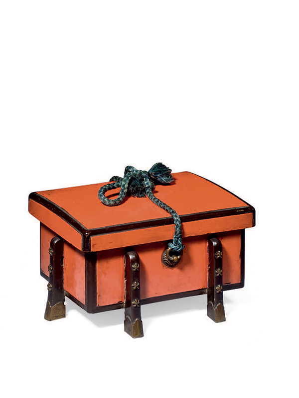 Negoro lacquer miniature storage chest, karabitsu