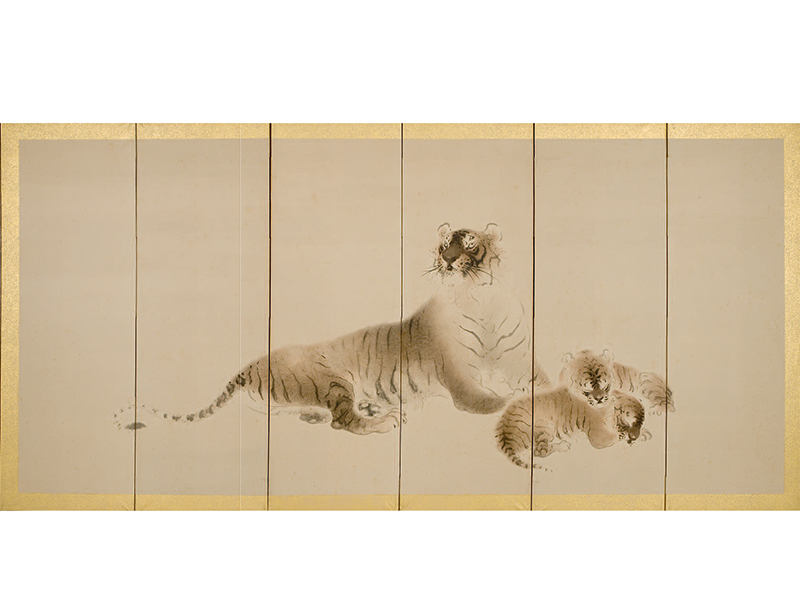 Six-fold paper screen with tiger and her cubs