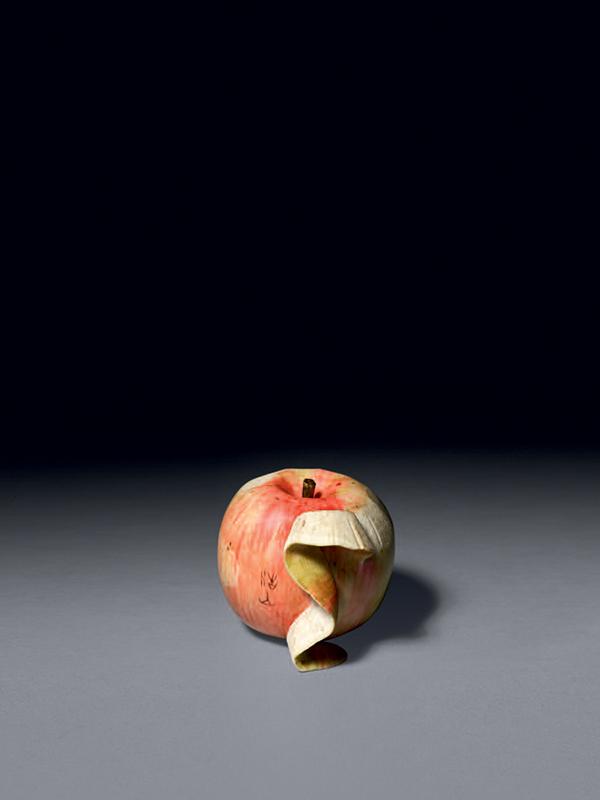 Ivory okimono of an apple by Kozan