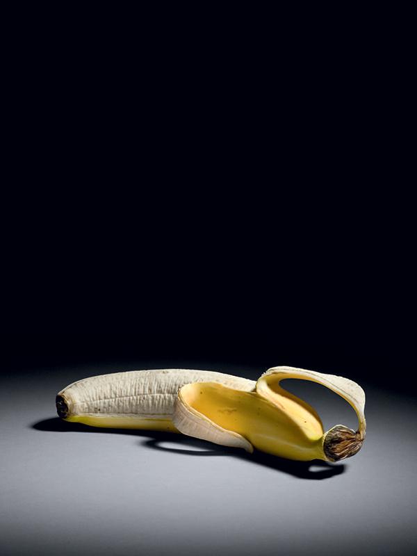 Ivory okimono of a half-peeled banana