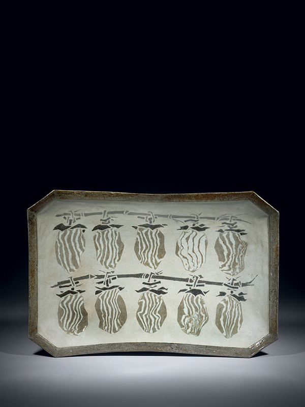 Kyoto ware ceramic dish with dried persimmons by Asami Ryuzo (1904 – 1987)