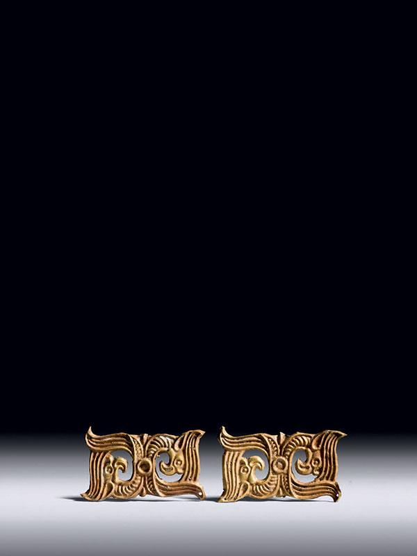 Two sheet-gold belt ornaments