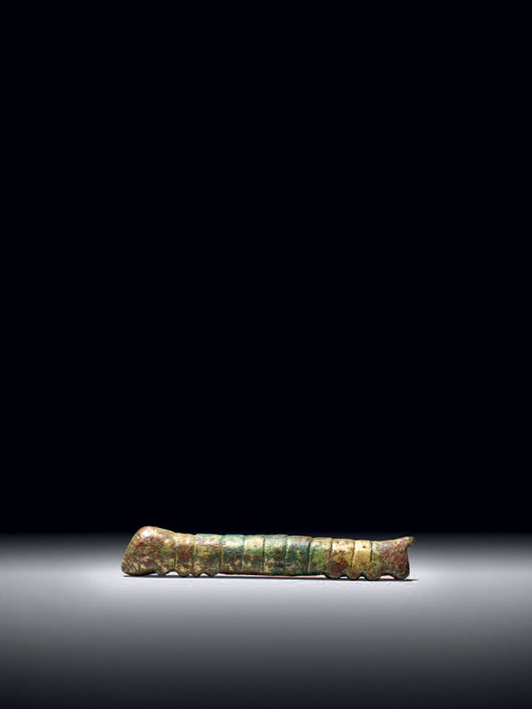 Giltbronze model of a silkworm