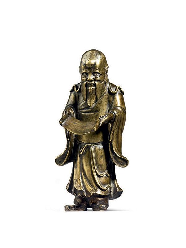 Giltbronze figure of a bearded sage holding a scroll