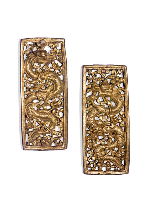 Pair of giltbronze belt plaques with dragons